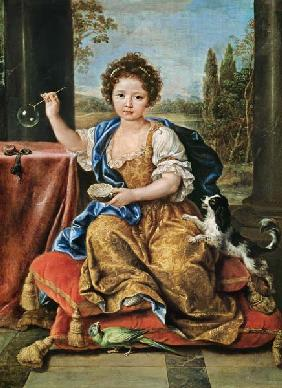 Marie-Anne de Bourbon (1666-1739) Mademoiselle de Blois, Blowing Soap Bubbles