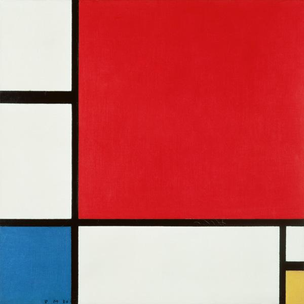 Composition in red, blue�