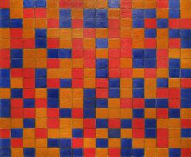 Composition with Grid 8; Checkerboard Composition with Dark Colours