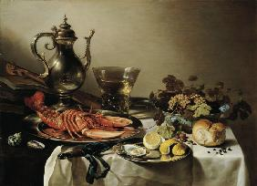 Table with lobster, silver jug, big Berkemeyer, fruit bowl, violin and books