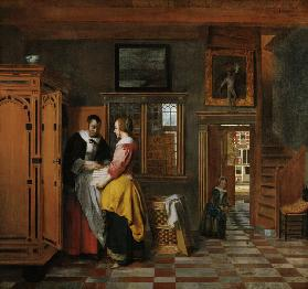 Interior with Women beside a Linen Chest