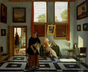 Interior with painter, reading lady and maid