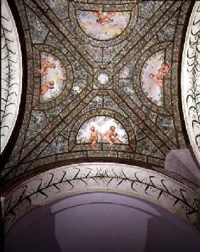 The semicircular ionic portico, detail of the ceiling vault decorated with putti in a garden