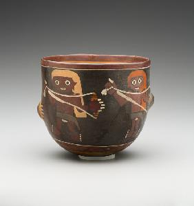 Bowl decorated with Men Spinning (painted terracotta)