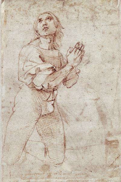 Raffaello Santi, (Raphael) : Figurenstudie of a praying...