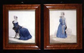 Two portraits of a Seated and a Standing Lady in Blue Dresses