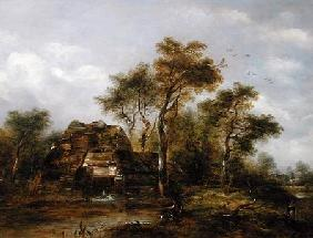 Overshot Mill with Man Fishing