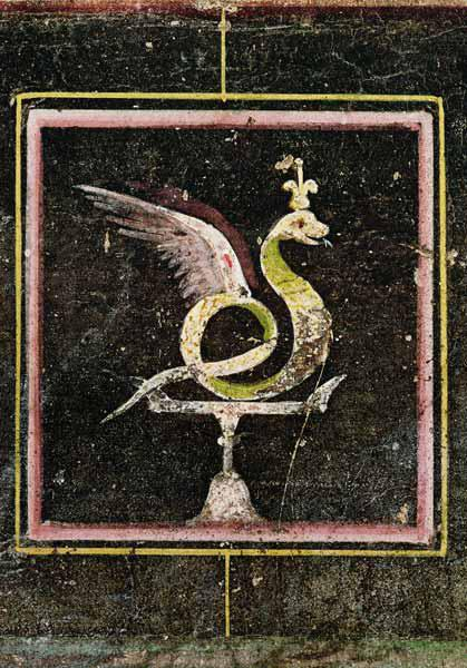 A Winged Serpent, detail from a tablinum decorated with egyptian style paintings