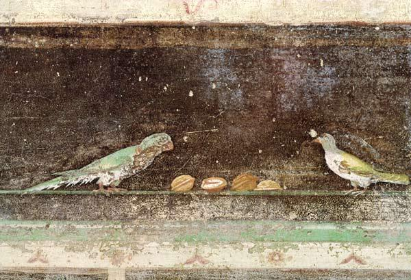 Birds eating nuts, detail from a tablinium decorated with Egyptian-style paintings