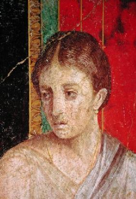 Detail of the head of the Seated Mother, from the Catechism Scene, North Wall, Oecus 5