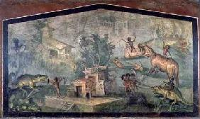 Pygmies Hunting, from the 'Casa del Dottore' (House of the Doctor) from Pompeii