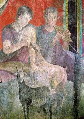 Satyr Playing the Panpipes and Nymph Breastfeeding a Goat