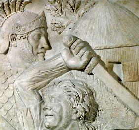 Relief depicting a Barbarian fighting a Roman legionary