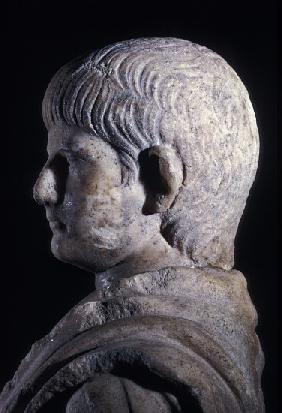 Togate statue of the young Nero, side view of the head