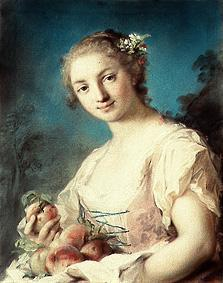 Young lady with peaches