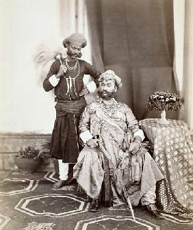 His Highness Maharaja Tukoji Rao (1844-86) II of Indore and attendant
