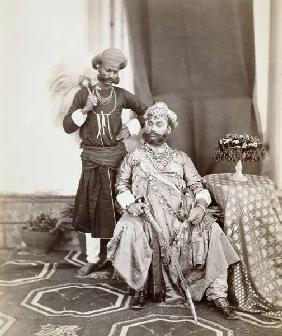 His Highness Maharaja Tukoji Rao (1844-86) II of Indore and attendant, 1877 (albumen print)