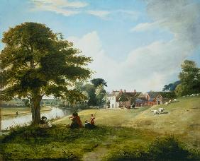 Summery riverside with painter