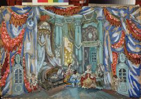 Stage design for the theatre play The Marriage of Figaro by P. de Beaumarchais