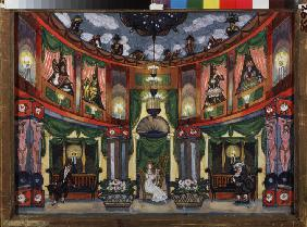 Stage design for the opera Tales of Hoffmann by J. Offenbach