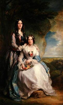 Lady Adeliza Manners and Lady Mary Foley, 1848 (oil on canvas)