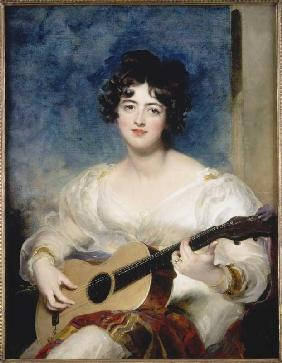 Portrait of the Lady Wallscourt when playing instruments