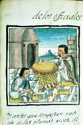 Ms Palat. 218-220 Book IX Aztec feather artisans at work, from the ''Florentine Codex'' by Bernardin