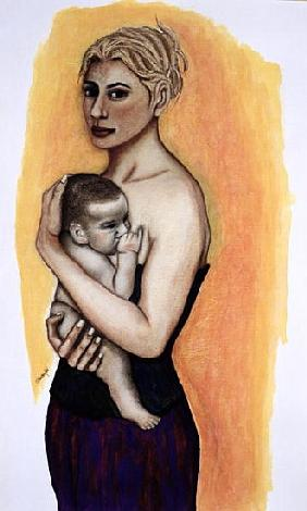 Her Son (pastel and ink on paper)