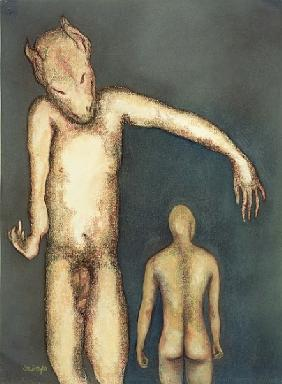 Thinking, 1999 (pastel on paper)