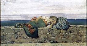 Peasant girl lying on a parapet