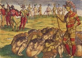 Capture of the Aztecs the Spanish Colonists, book illustration, c.1550
