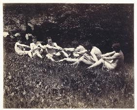 Males nudes in a seated tug-of-war