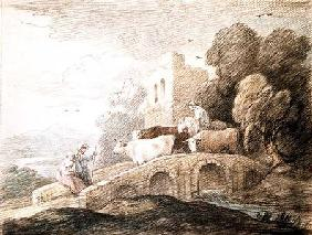 A bridge with cattle passing over
