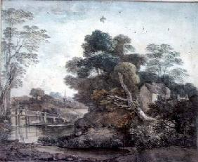 Landscape with Cottage and Stream