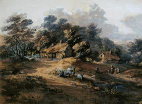 Peasants and Donkeys near Cottages at the Edge of a Wood