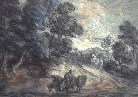 A Wooded Landscape with Horses Drinking (pastel)