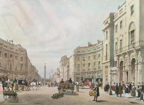 Regent Street, Looking Towards the Duke of York's Column, from 'London As It Is', engraved and pub.