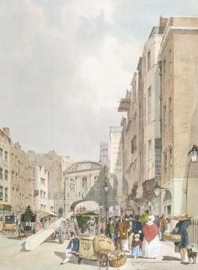 Temple Bar, from the Strand, from 'London As It Is', engraved and pub. by the artist, 1842 (colour l