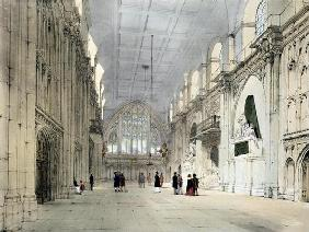 The Guildhall, Interior, from 'London As It Is', engraved and published by the artist, 1842 (colour