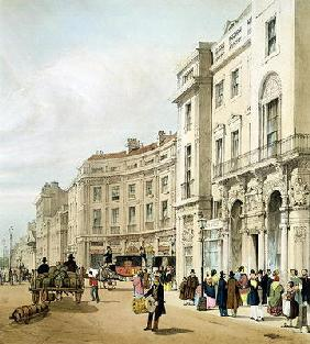Western side of John Nash's extended Regent Circus (detail) from 'London As It Is', engraved and pub