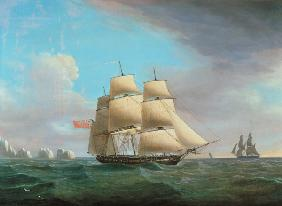 "H.M. Frigate ""Galatea"", 38 Guns off the Needles, Isle Of Wight"