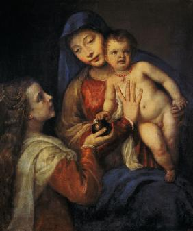 Madonna with child and Maria Magdalena.
