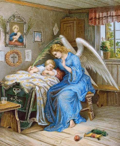 Guardian Angel with a sleeping Child