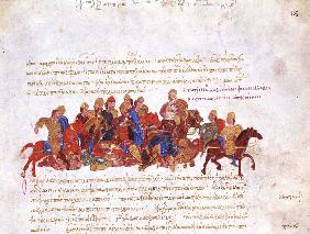 The Pechenegs in the fight against warriors of Svyatoslav I (Miniature from the Madrid Skylitzes)