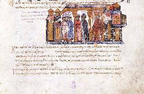 Grand Princess Olga visiting Constantine VII (Miniature from the Madrid Skylitzes)