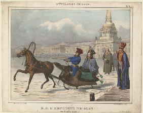 Nicholas I of Russia in a sleigh