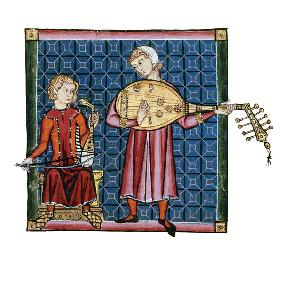 Two minstrels. Illustration from the codex of the Cantigas de Santa Maria