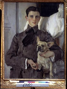 Portrait of Prince Felix Yusupov, Count Sumarokov-Elston (1887-1967) with a dog
