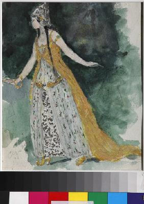 Lyudmila. Costume design for the opera Ruslan and Lyudmila by M. Glinka