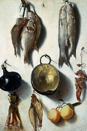 A Trompe L'Oeil of Fish, Cooking Utensils, Vegetables and Fruit